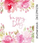watercolor flowers peonies....   Shutterstock .eps vector #261194156