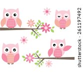 Stock vector cut owl and branches 261197492
