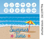summer   beach background with... | Shutterstock .eps vector #261199796