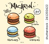vector. cute french macarons... | Shutterstock .eps vector #261202622