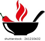 bowl with red hot chili pepper... | Shutterstock .eps vector #261210632