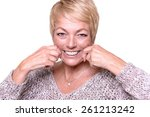 attractive middle aged woman... | Shutterstock . vector #261213242