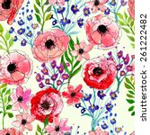 watercolor floral seamless...   Shutterstock .eps vector #261222482