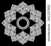 white round mandala on black... | Shutterstock .eps vector #261237002