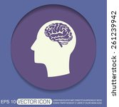 vector icon head with brain. ... | Shutterstock .eps vector #261239942