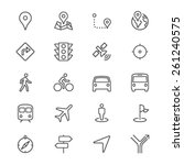 navigation thin icons | Shutterstock .eps vector #261240575