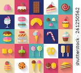 set of sweet food icons flat... | Shutterstock .eps vector #261250562