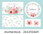 vector of flowers and leaves... | Shutterstock .eps vector #261252665