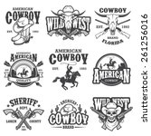 Set Of Vintage Cowboy Emblems ...