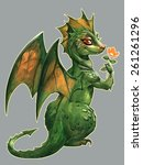 Funny Cute Green Dragon With A...