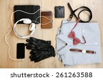 still life of casual man on... | Shutterstock . vector #261263588