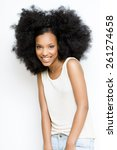 happy girl with big afro hair. | Shutterstock . vector #261274658