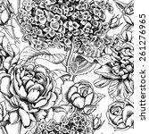 seamless pattern flower black   ... | Shutterstock .eps vector #261276965