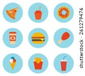 vector set of fast food icons | Shutterstock .eps vector #261279476