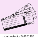 air ticket  doodle style ... | Shutterstock .eps vector #261281135