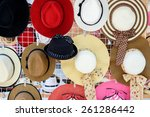 many of hats for lady hang on... | Shutterstock . vector #261286442