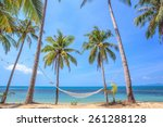 tropical beach with coconut... | Shutterstock . vector #261288128