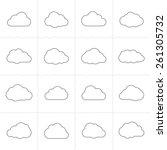 cloud shapes linear icons.... | Shutterstock .eps vector #261305732