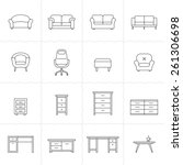 collection of furniture icons.... | Shutterstock .eps vector #261306698