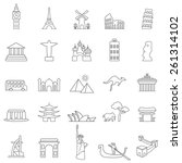 travel landmarks line icon set | Shutterstock .eps vector #261314102