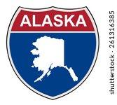 american state of alaska map... | Shutterstock . vector #261316385