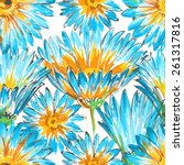 retro floral seamless pattern | Shutterstock .eps vector #261317816