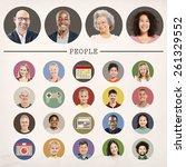 faces people diversity...   Shutterstock . vector #261329552