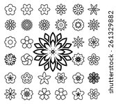set of flower line icons... | Shutterstock .eps vector #261329882