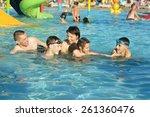 portrait of a happy family... | Shutterstock . vector #261360476