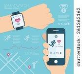 wearable. vector running app on ... | Shutterstock .eps vector #261362162