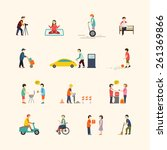 people in the city. flat icons. | Shutterstock .eps vector #261369866