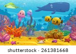 seamless underwater cartoon... | Shutterstock .eps vector #261381668