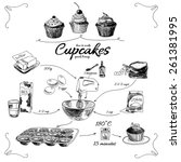 simple cupcake recipe. step by... | Shutterstock .eps vector #261381995