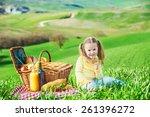 beautiful smiling girl on green ... | Shutterstock . vector #261396272