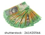 fanned out  100 notes  ...   Shutterstock . vector #261420566
