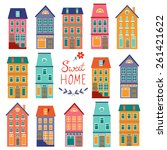 colorful houses collection.... | Shutterstock .eps vector #261421622