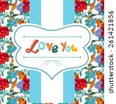 postcard with flowers... | Shutterstock .eps vector #261421856