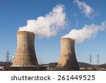 Two of four active cooling towers at the Three Mile Island nuclear power plant in Pennsylvania.
