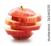 Sliced Apple Over White...