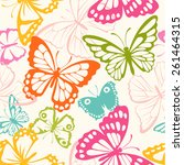 Stock vector pattern with butterfly 261464315