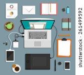 designers workspace | Shutterstock .eps vector #261499592