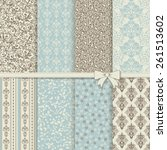 set of seamless damask patterns ... | Shutterstock .eps vector #261513602