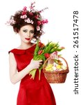 Easter Woman. Spring Girl With...