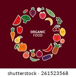 card with fruit and vegetables. ... | Shutterstock .eps vector #261523568