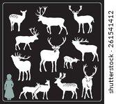 deer silhouette set | Shutterstock .eps vector #261541412