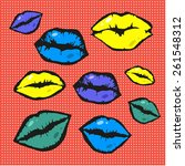 pop art style vector lips | Shutterstock .eps vector #261548312