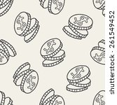 Doodle Coin Seamless Pattern...