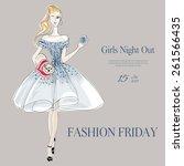 fashion girl hand drawn... | Shutterstock .eps vector #261566435