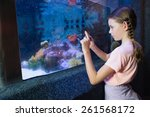 cute girl looking at fish tank... | Shutterstock . vector #261568172