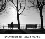 depression in the fog alone on... | Shutterstock . vector #261570758